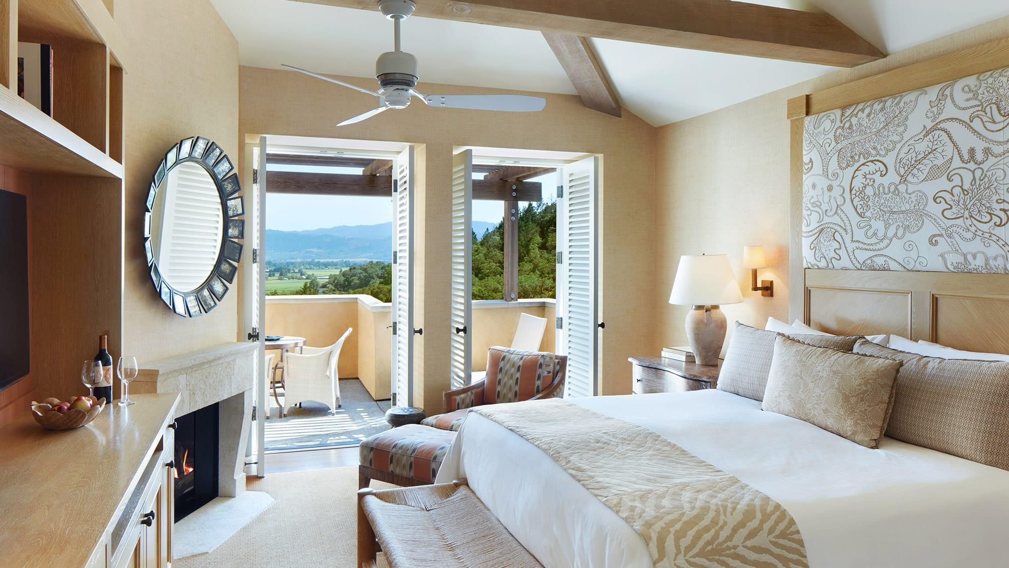 bedroom with open doors