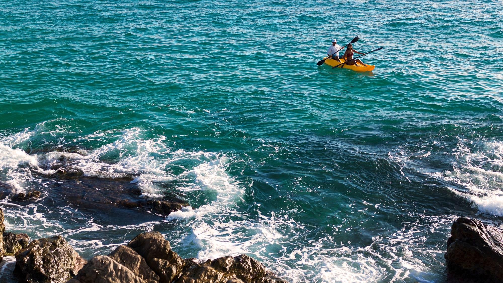 kayaking in ocean