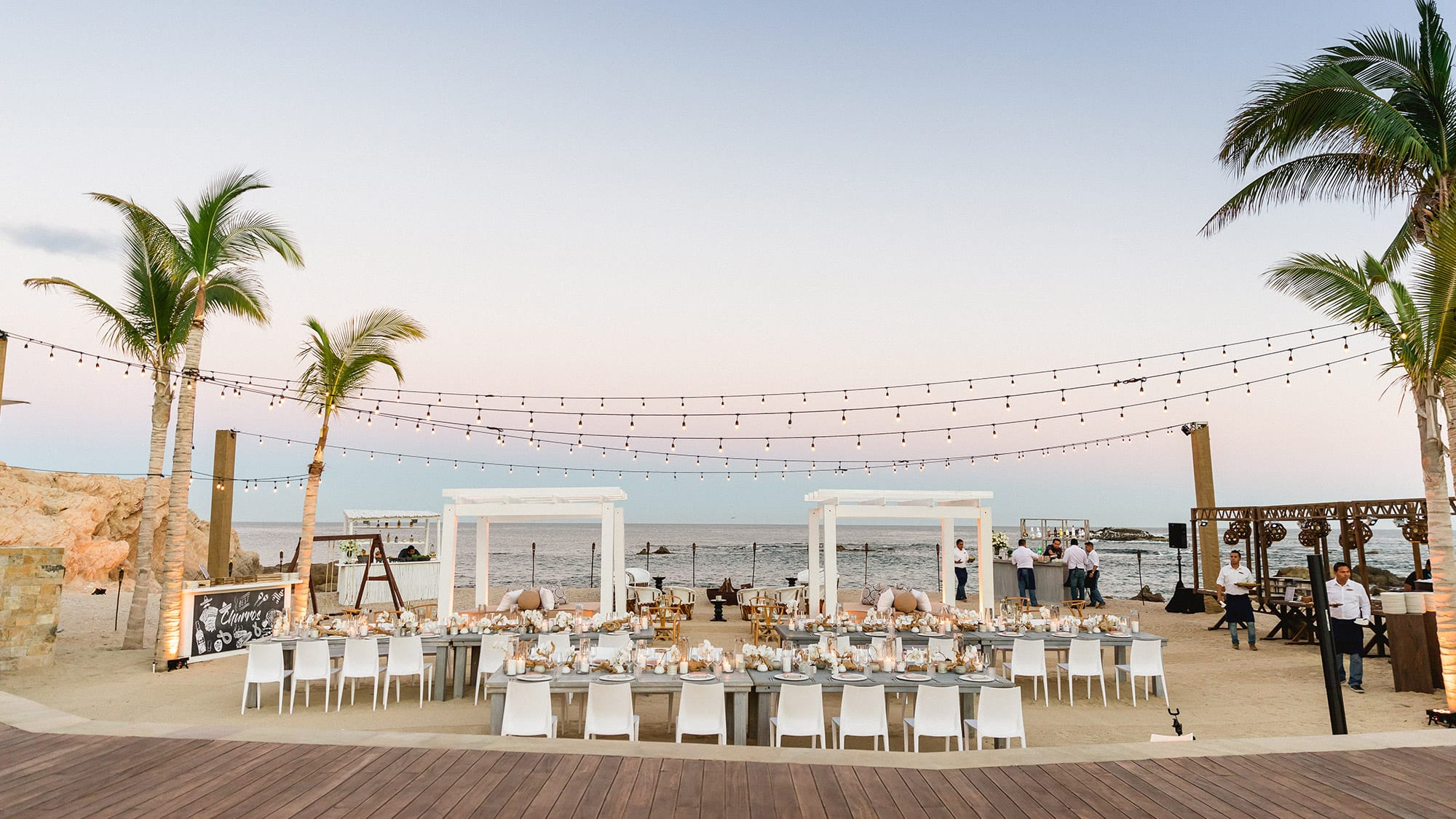 wedding set up by the beach