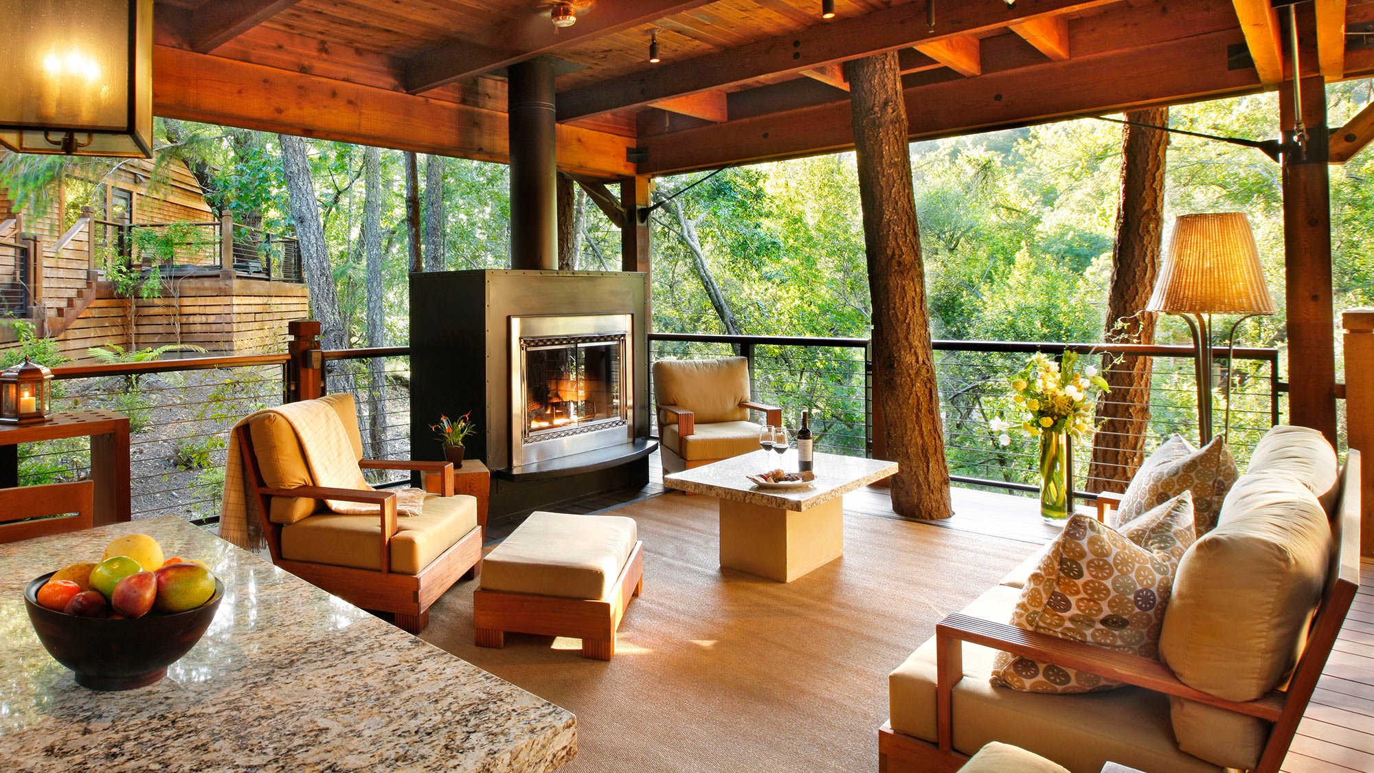 living room with tree views
