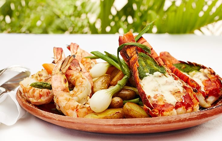 grilled seafood with local vegetables