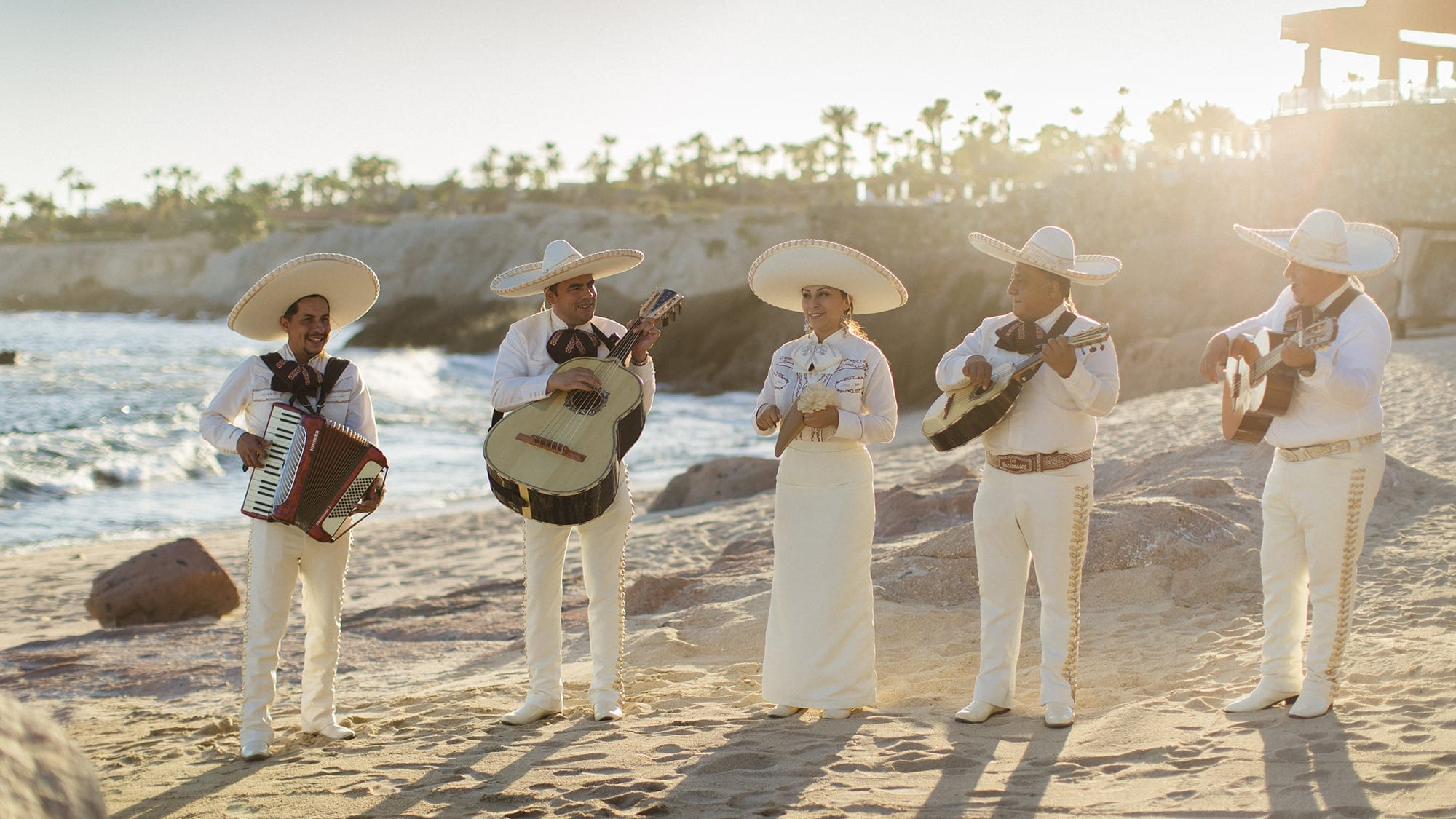 Mariachi band on beach