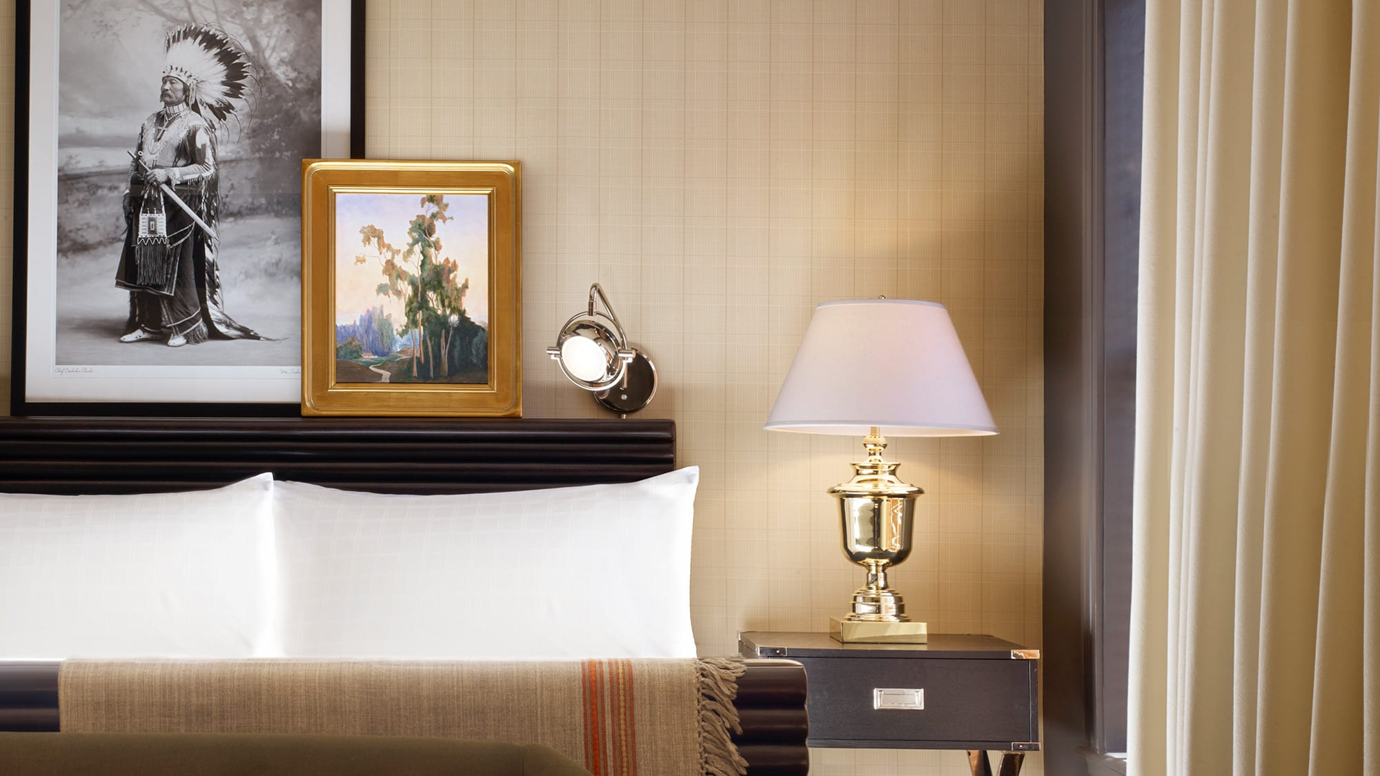 side of bed and night stand
